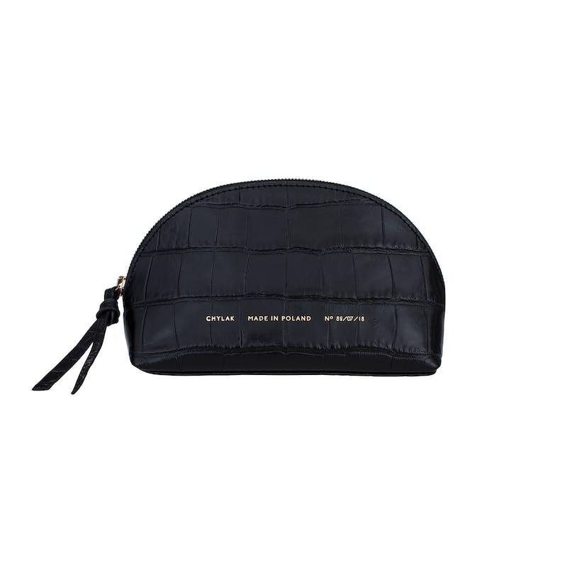 "Small Cosmetic Bag ""glossy black crocodile"""