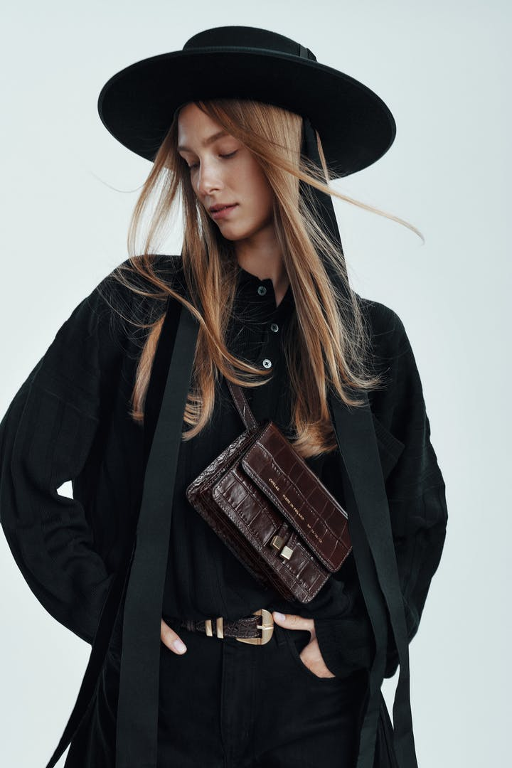 "Mini Belt  Bag ""glossy brown crocodile"""