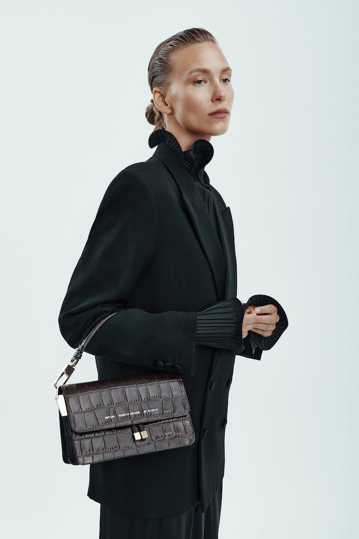 "Shoulder Bag ""glossy brown crocodile"""