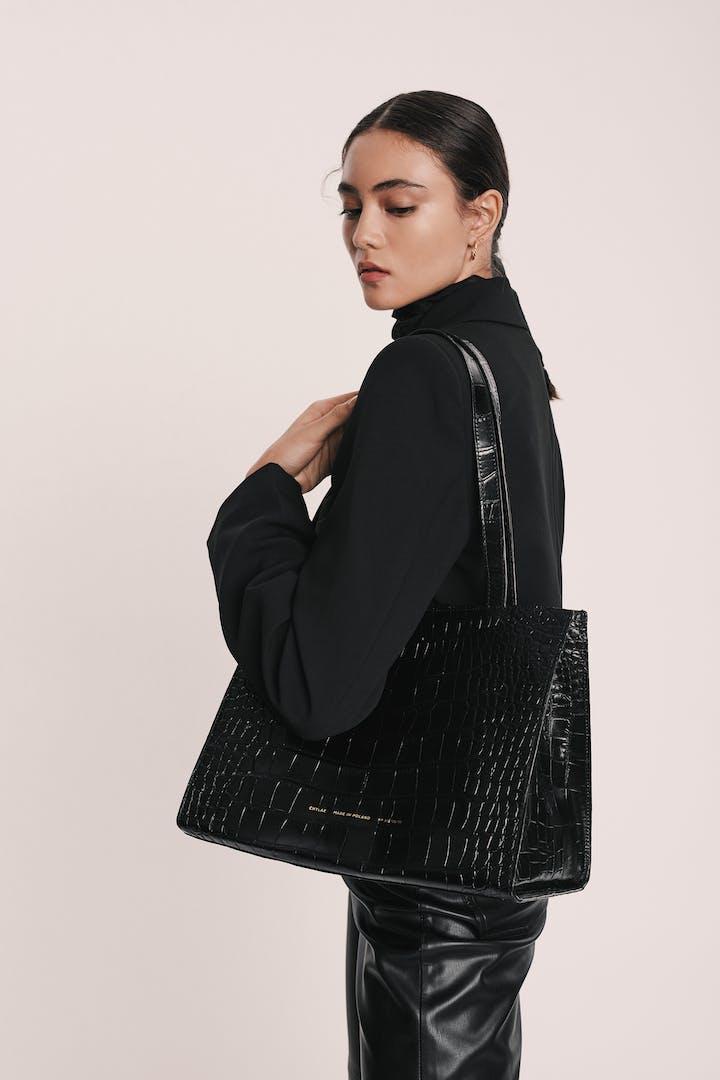 "Tote Bag ""glossy black crocodile"""