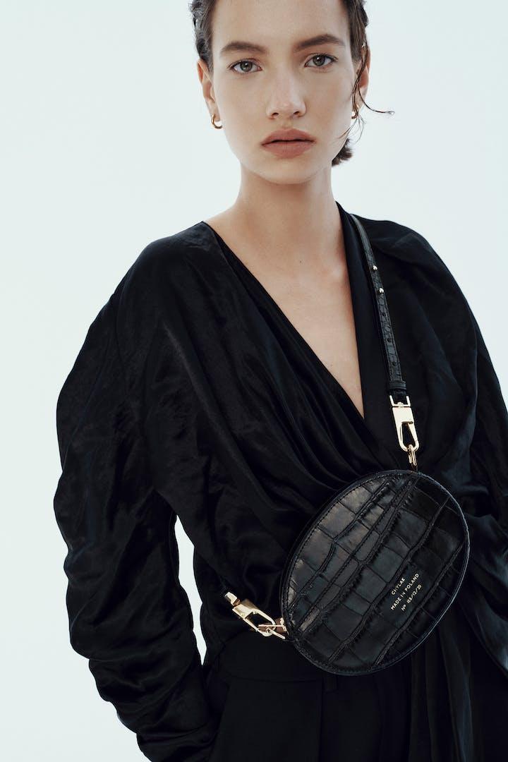 """Ellipse Shoulder Bag """"glossy black crocodile"""""""