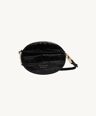 "Ellipse Shoulder Bag ""glossy black crocodile"""