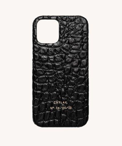 """Etui na iPhone """"czarny błyszczący krokodyl"""""""