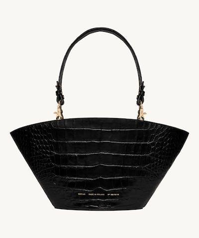 "Big Basket Bag ""glossy black crocodile"""