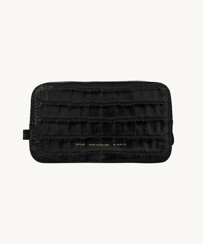"Big Cosmetic Bag ""glossy black crocodile"""