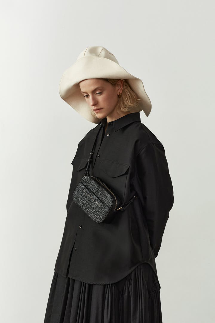 "Camera Bag ""black pebbled leather"""