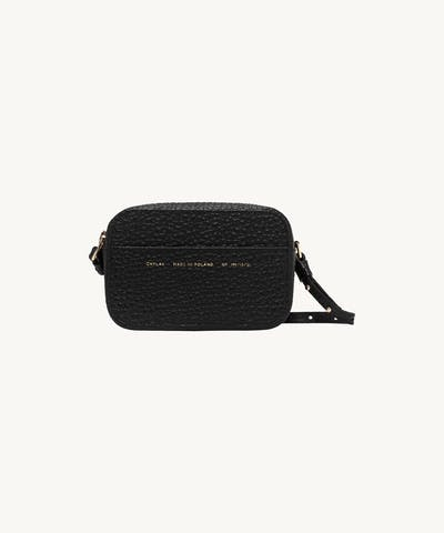 "Camera Bag ""black pebbled leather"""