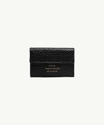 "Double Flap Wallet ""black pebbled leather"""