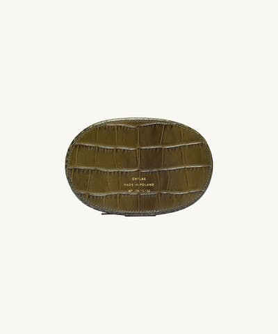 "Ellipse Bag ""olive crocodile"""
