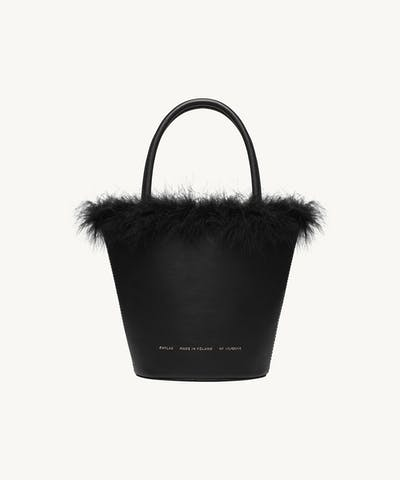 Feathered Small Bucket Bag Black