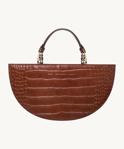 "Half Moon Bag ""glossy caramel crocodile"""