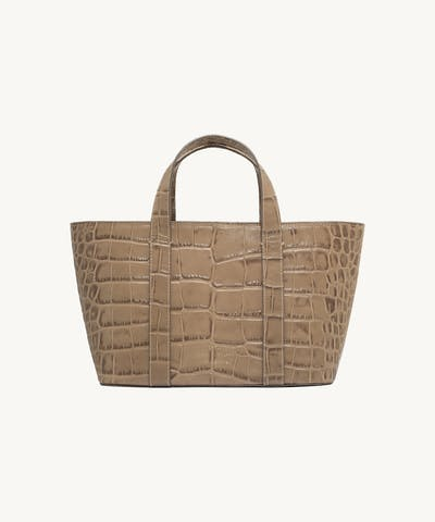 "Leather Boat Tote Bag ""beige crocodile"""