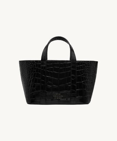 "Leather Boat Tote Bag ""glossy black crocodile"""