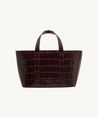 "Leather Boat Tote Bag ""glossy brown crocodile"""