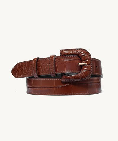 "Leather Buckle Belt ""glossy caramel crocodile"""