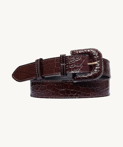 "Leather Buckle Belt ""glossy brown crocodile"""