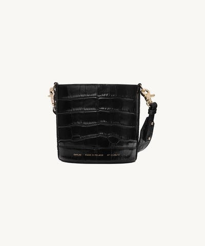"Mini Cylinder Bag ""glossy black crocodile"""