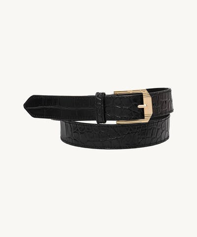 "Retro Belt ""glossy black crocodile"""