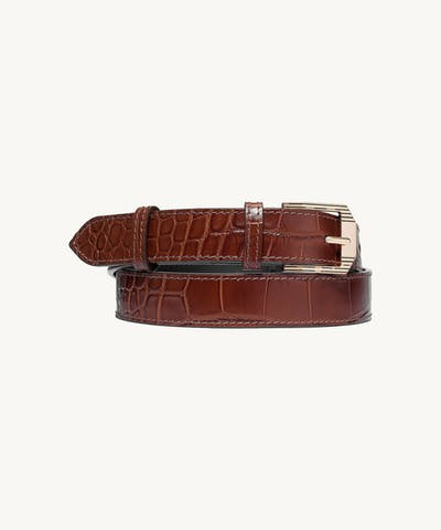 "Retro Belt ""glossy caramel crocodile"""