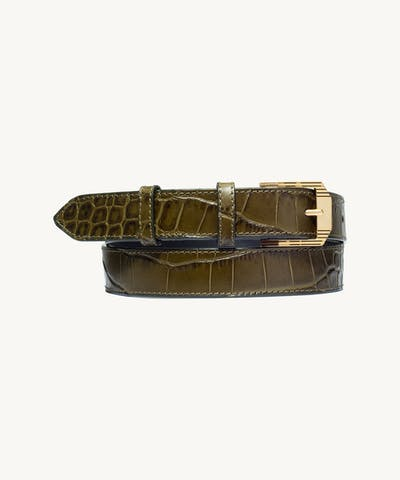 "Retro Belt ""olive crocodile"""