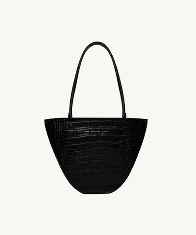"Rounded Tote Bag ""glossy black crocodile"""