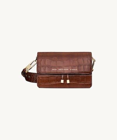 "Shoulder Bag ""glossy caramel crocodile"""