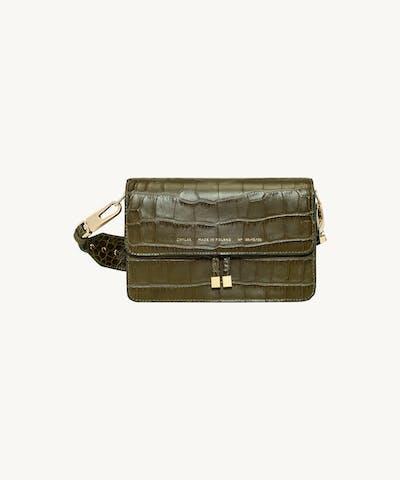 """Shoulder Bag """"olive crocodile"""""""