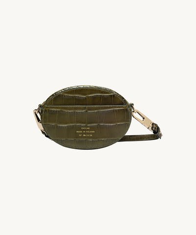 "Ellipse Shoulder Bag ""olive crocodile"""