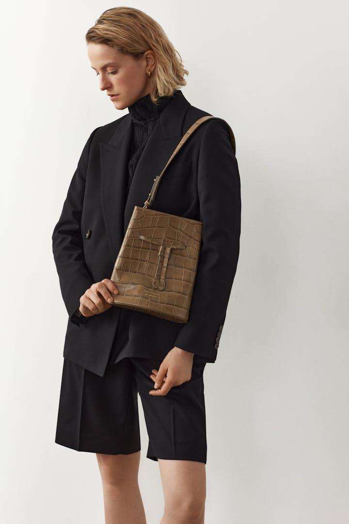 "Structured Bucket Bag ""beige crocodile"""