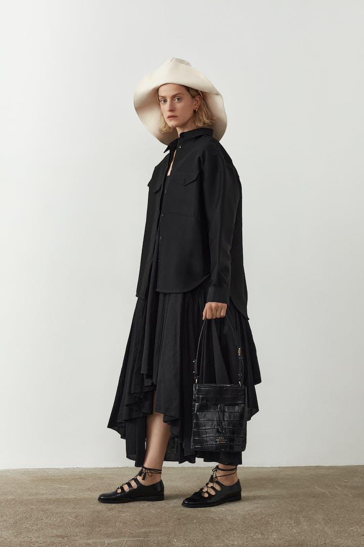 "Structured Bucket Bag ""glossy black crocodile"""