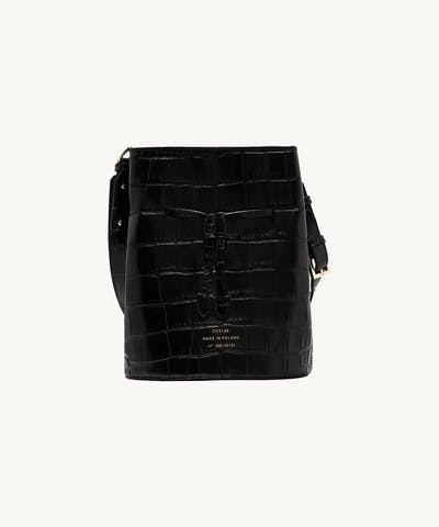 "Structured Bucket Bag ""glossy black crocodile"""