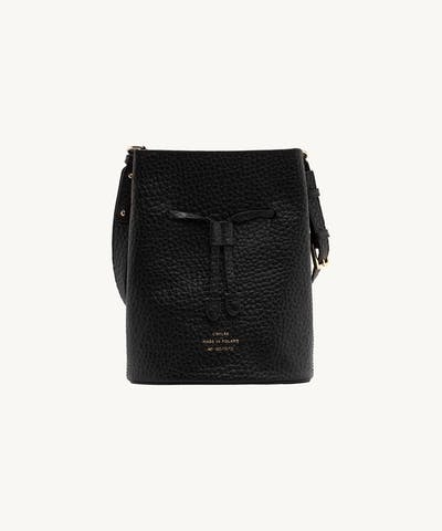 "Structured Bucket Bag ""black pebbled leather"""