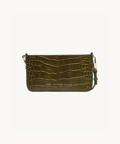 "Underarm Bag ""olive crocodile"""