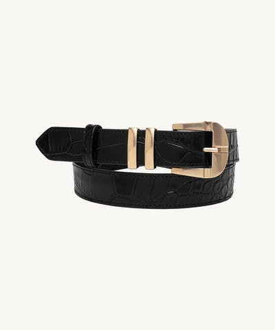 """Vintage"" Belt ""glossy black crocodile"""