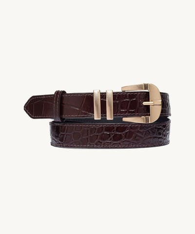 """Vintage"" Belt ""glossy brown crocodile"""