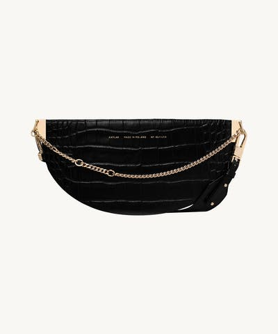 "Wide Saddle Bag ""glossy black crocodile"""