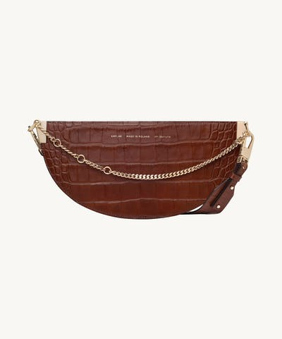 "Wide Saddle Bag ""glossy caramel crocodile"""
