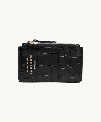 "Zipped Cardholder ""glossy black crocodile"""