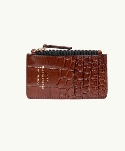 "Zippered Cardholder ""glossy caramel crocodile"""