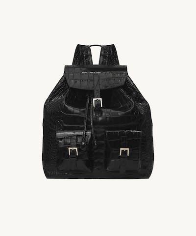 """Big Backpack """"glossy black crocodile"""""""
