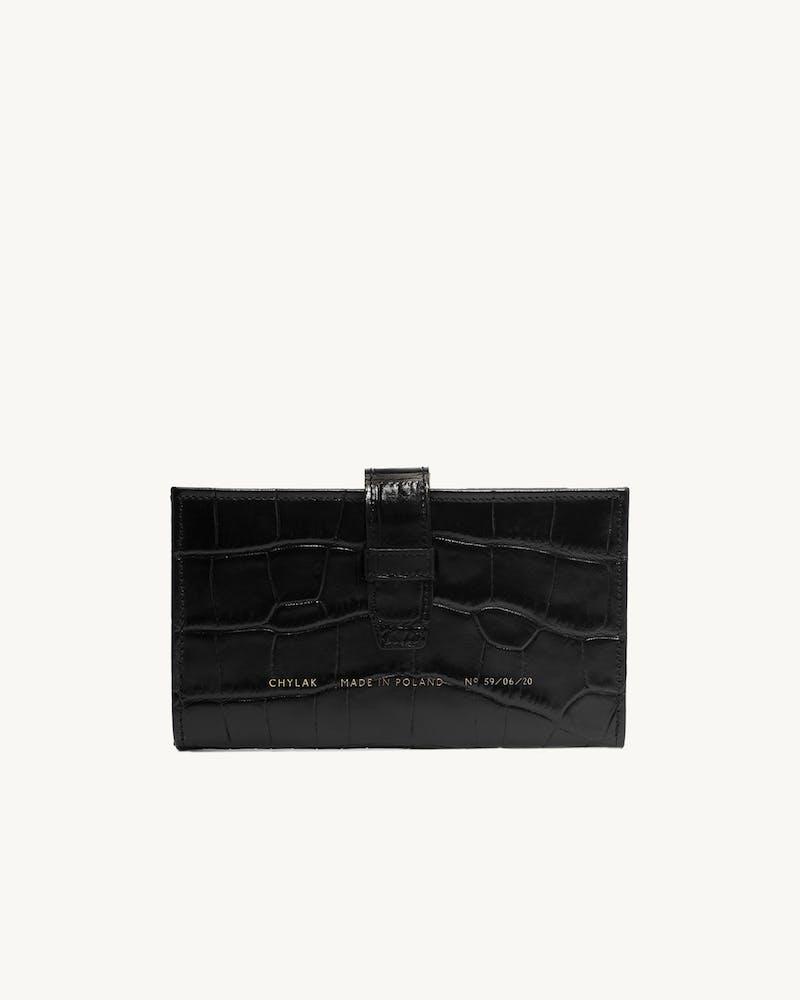 "Big Classic Wallet ""glossy black crocodile"" #1"