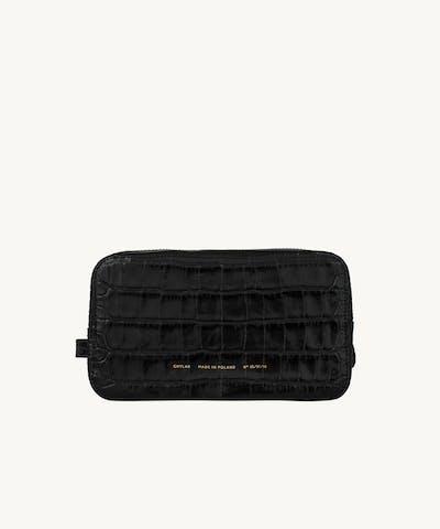 "Big Cosmetic Bag ""glossy black crocodile"""