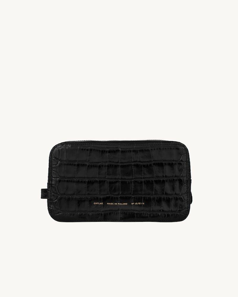 "Big Cosmetic Bag ""glossy black crocodile"" #1"