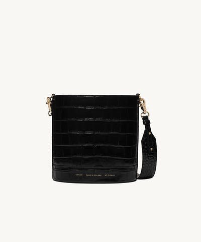 "Cylinder Bag ""glossy black crocodile"""