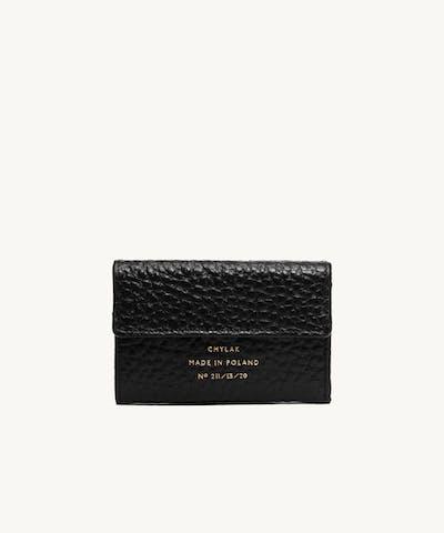 "Double Flap Wallet ""black pebbled leather"""