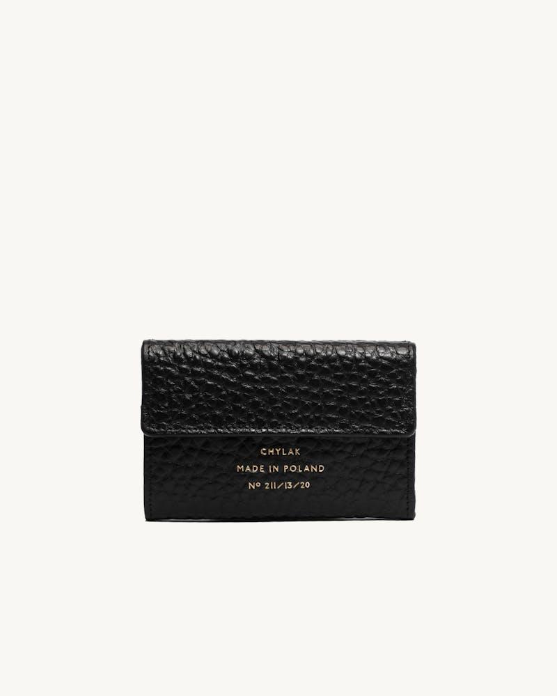 "Double Flap Wallet ""black pebbled leather"" #1"