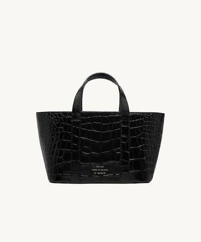 "Leather Boat Tote Bag ""glossy black crocodile"""