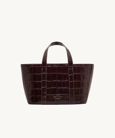 "Leather Boat Tote Bag ""glossy brown crocodile"""
