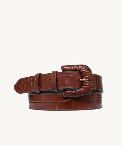 "Leather Buckle Belt ""glossy caramel crocodile"""