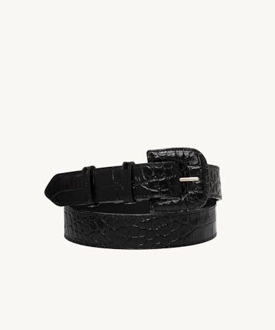 "Leather Buckle Belt ""glossy black crocodile"""